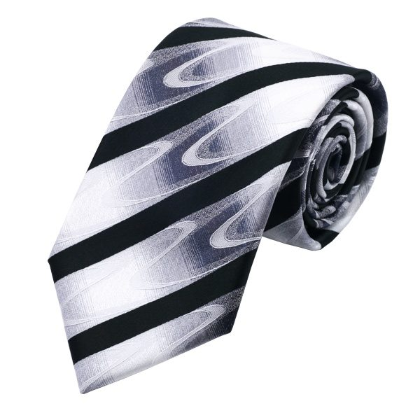 DSTS-71081-Tie-Hanky-Cufflinks-Sets-Black-White-Handkerchief-Men-s-set-100-Silk-Ties-