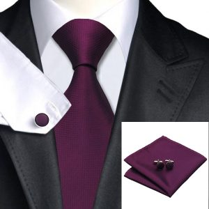Tie Handkerchief cufflinks Set-DSTS-7236-Purple-Fashion-Tie-Handkerchief-Hanky-Cufflinks-Sets-Men-s-100-Silk-Ties-for-men