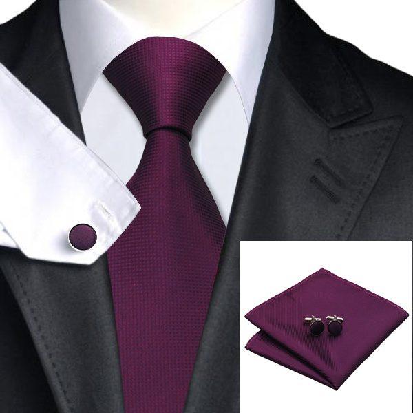 Tie Handkerchief cufflinks Set-DSTS-7236-Purple-Fashion-Tie-Handkerchief-Hanky-Cufflinks-Sets-Men-s-100-Silk-Ties-for-men