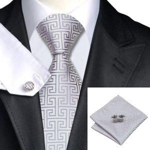Tie Sets UK Tie sets DSTS-7484-Lightgrey-Wedding-Formal-Tie-Hanky-Cufflinks-Sets-Men-s-100-Silk-Ties-for-men-Formal
