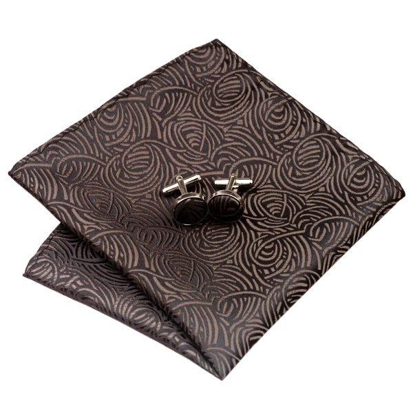 Tie and cufflink sets uk DSTS-7548-Brown-Tie-Hanky-Cufflinks-Sets-Men-s-100-Silk-Ties-for-men-Formal (2)