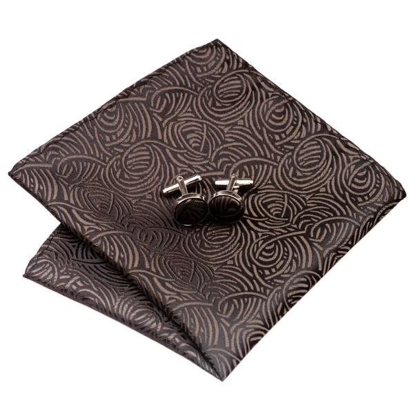 Tie and cufflink sets uk DSTS-7548-Brown-Tie-Hanky-Cufflinks-Sets-Men-s-100-Silk-Ties-for-men-Formal (2)