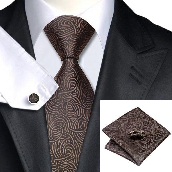 Tie and cufflink sets uk DSTS-7548-Brown-Tie-Hanky-Cufflinks-Sets-Men-s-100-Silk-Ties-for-men-Formal