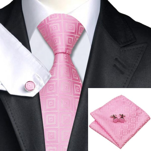 DSTS-7588-Pink-Wedding-Hanky-Cufflinks-Tie-Sets-Men-s-100-Silk-Ties-Handkerchief-for-men-Formal-Dapper