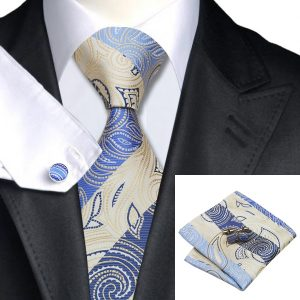 Classy Tie Sets DSTS-7492-Blue-Oldlace-Novelty-Tie-Hanky-Cufflinks-Sets-Men-s-100-Silk-Ties-for-men