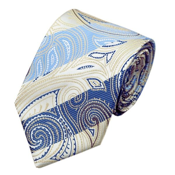 Classy Tie Sets DSTS-7492-Blue-Oldlace-Novelty-Tie-Hanky-Cufflinks-Sets-Men-s-100-Silk-Ties-for-men(1)