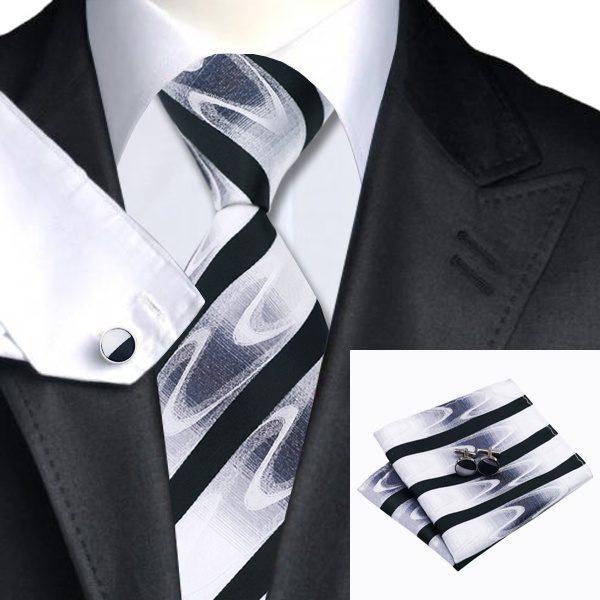 Tie Cufflink Sets DSTS-71081-Tie-Hanky-Cufflinks-Sets-Black-White-Handkerchief-Men-s-set-100-Silk-Ties-dappr