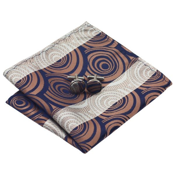Tie Sets UK DSTS-71187 Brown Paisley Tie Handkerchief Cufflinks Sets Mens 100-Silk Ties for men Fashion and Formal 2)
