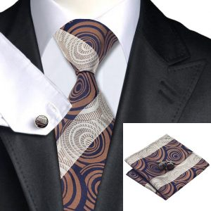 Tie Sets UK DSTS-71187 Brown Paisley Tie Handkerchief Cufflinks Sets Mens 100-Silk Ties for men Fashion and Formal