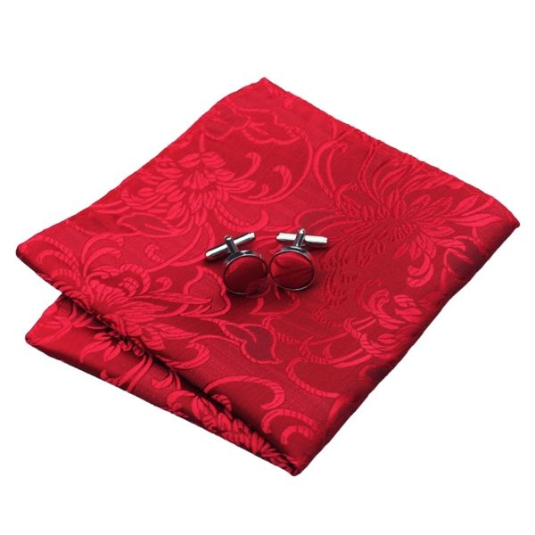 Tie hanky cufflinks set DSTS-7306-Red-Floral-Tie-Hanky-Cufflinks-Sets-Men-s-100-Silk-Ties-for-men-Formal(2)