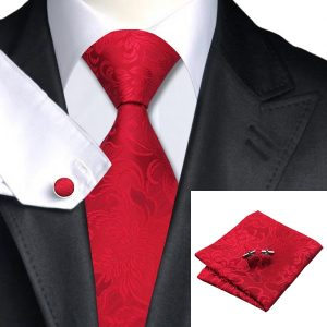 Tie hanky cufflinks set DSTS-7306-Red-Floral-Tie-Hanky-Cufflinks-Sets-Men-s-100-Silk-Ties-for-men-Formal