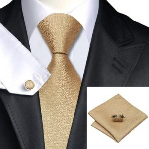Wedding Ties DSTS-7532-Golden-Wedding-Tie-Handkerchief-Hanky-Cufflinks-Sets-Men-s-100-Silk-Ties-for-men-Formal (2)