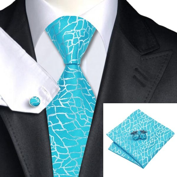 Tie hanky cufflink sets DSTS-71038-Cyan-Blue-Tie-Hanky-Cufflinks-Sets-Men-s-100-Silk-Ties-for-men-Wedding-Groom-church-Formal