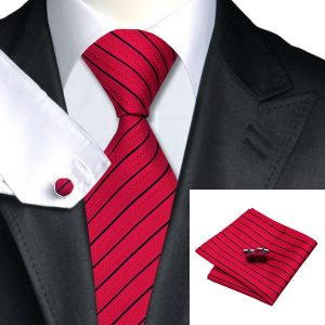 Classy Tie Sets DSTS-7357-Red-Tie-Black-Striped-Men-s-Silk-Ties-Tie-Hanky-Cufflinks-Sets-for-men