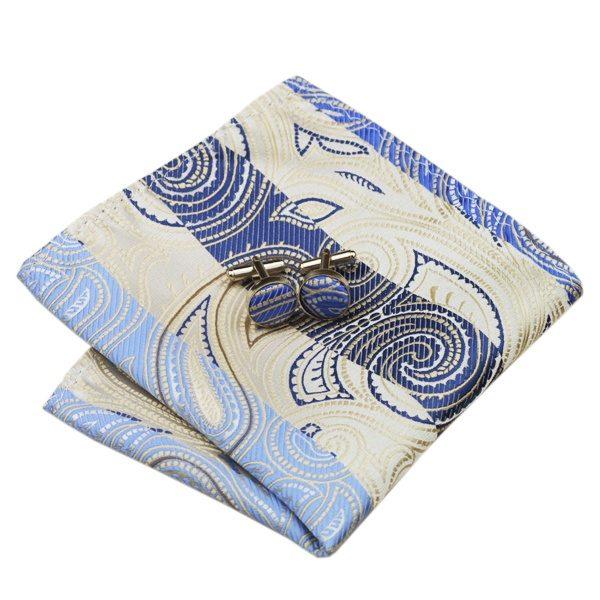 Classy Tie Sets DSTS-7492-Blue-Oldlace-Novelty-Tie-Hanky-Cufflinks-Sets-Men-s-100-Silk-Ties-for-men(2)