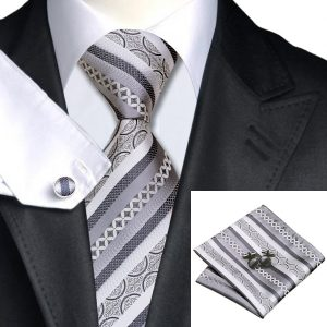 DSTS-7589-Formal-Tie-Sets-Tie-hanky-and-Cuflinks-set, Fashion-Gray-Silver-Stripe-Tie-Hanky-Cufflinks-100-Silk-Necktie-Formal-Tie sets-For-Men-Fashion-Business-Church