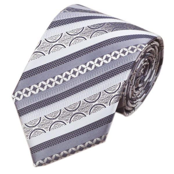 DSTS-7589-Formal-Tie-Sets-Tie-hanky-and-Cuflinks-set, Fashion-Gray-Silver-Stripe-Tie-Hanky-Cufflinks-100-Silk-Necktie-Formal-Tie sets-For-Men-Fashion-Business-Church